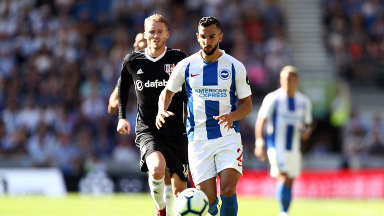Montoya in action for Brighton during their 2-2 draw with Fulham