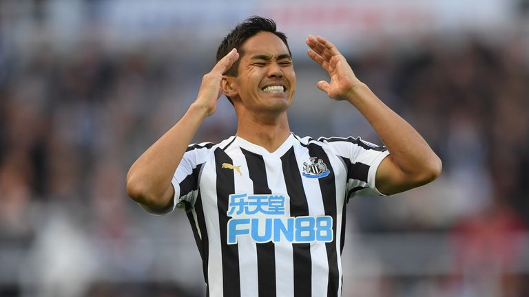 Muto of Newcastle reacts during the Premier League match between Newcastle United and Leicester City