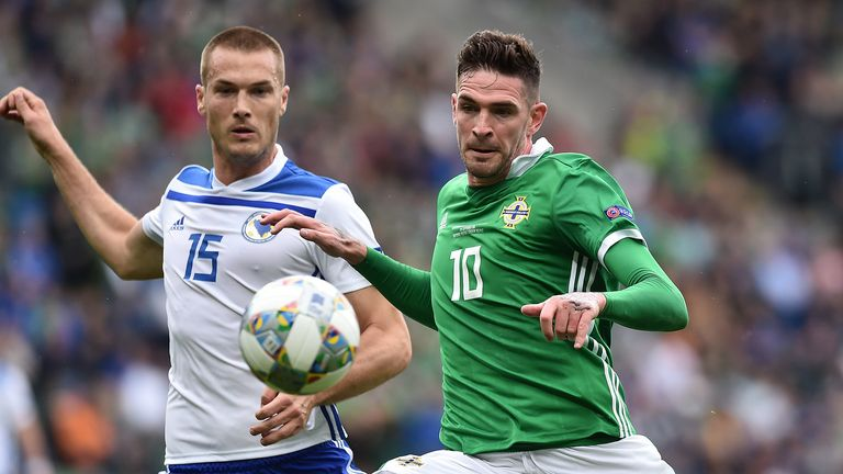 Kyle Lafferty of Northern Ireland and Toni Sunjic of Bosnia-Herzegovina during the UEFA Nations League B group three match between Northern Ireland and Bosnia-Herzegovina at Windsor Park on September 8, 2018 in Belfast, Northern Ireland.