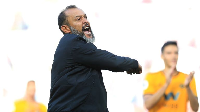 Nuno Espirito Santo celebrates the 1-0 away win at West Ham