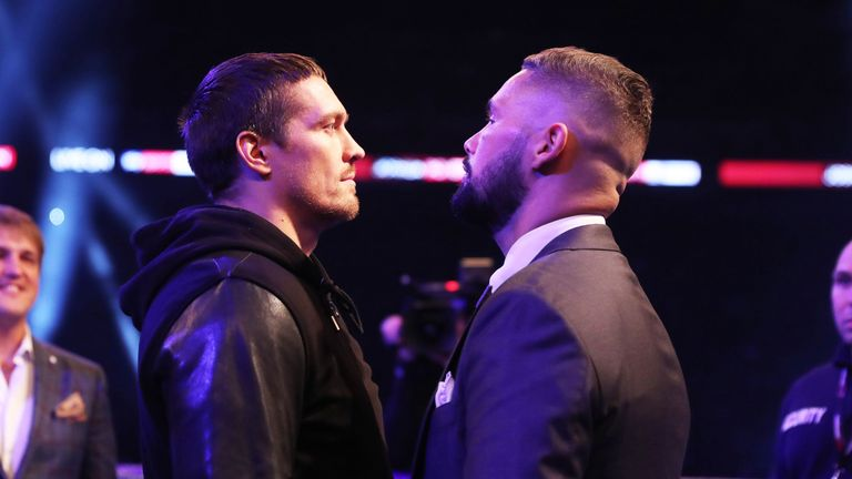 Usyk and Bellew met in the ring at Wembley Stadium