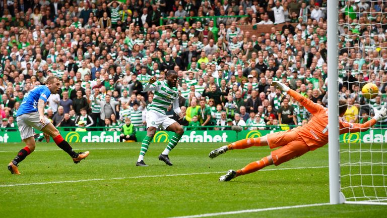 Celtic's Olivier Ntcham opens the scoring against Rangers at Celtic Park