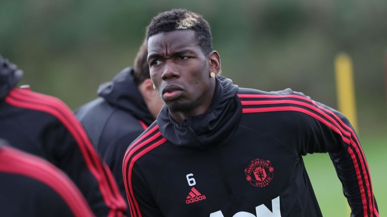 Paul Pogba during a first team training session at Manchester United's Aon Training Complex