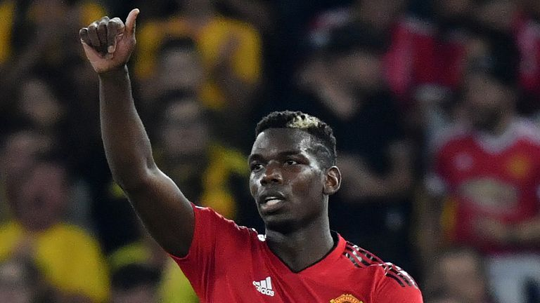 Manchester United's French midfielder Paul Pogba gestures during the UEFA Champions League group H football match between Young Boys and Manchester United at The Stade de Suisse in Bern on September 19, 2018
