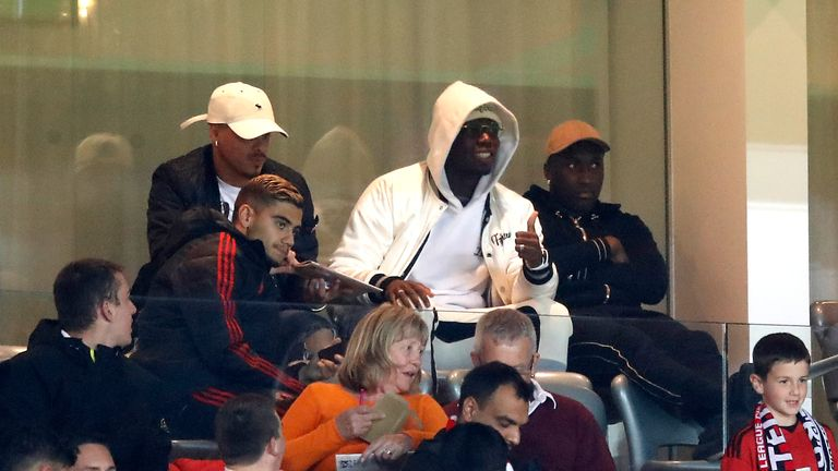 Manchester United's Paul Pogba in the stands during the Carabao Cup, third round match v Derby County at Old Trafford, Manchester.