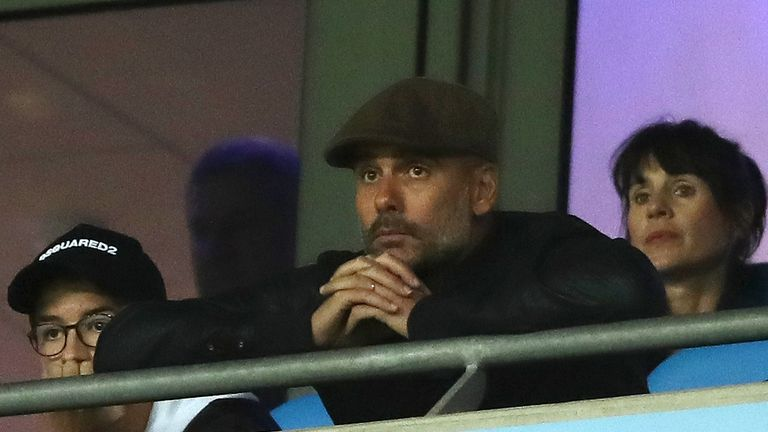 Pep Guardiola watched from the stands