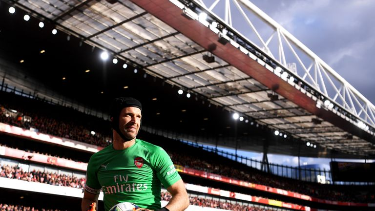 Petr Cech during the Premier League match between Arsenal FC and Everton FC at Emirates Stadium on September 23, 2018 in London, United Kingdom.