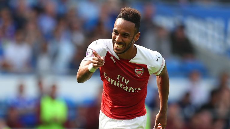 Aubameyang celebrates after scoring Arsenal's second goal