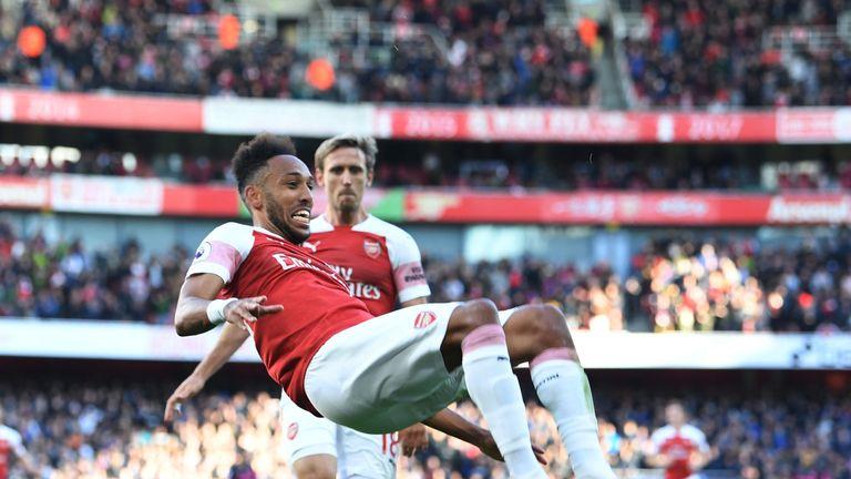 Pierre-Emerick Aubameyang celebrates his goal