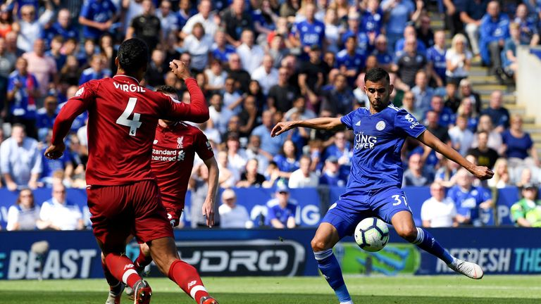Rachid Ghezzal pulls a goal back for Leicester City following a mistake by Alisson
