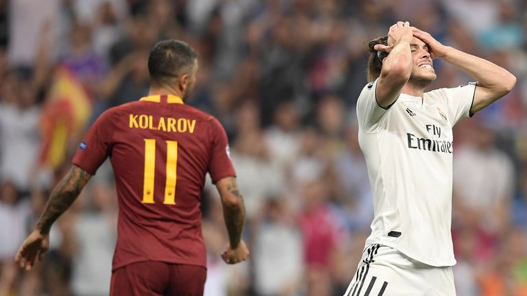 Gareth Bale reacts in Real Madrid v Roma in the UEFA Champions League