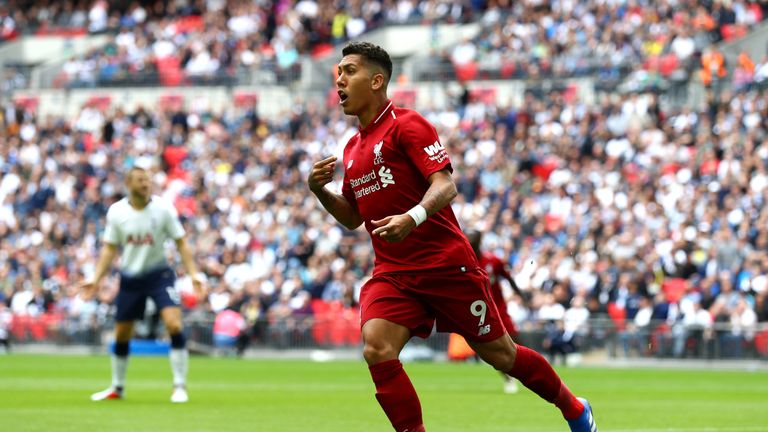 Roberto Firmino of Liverpool appelas to the assistant referee after his goal was rulled for offside during the Premier League match between Tottenham Hotspur and Liverpool FC at Wembley Stadium on September 15, 2018 in London, United Kingdom.
