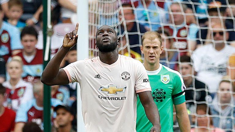 Romelu Lukaku celebrates scoring against Burnley