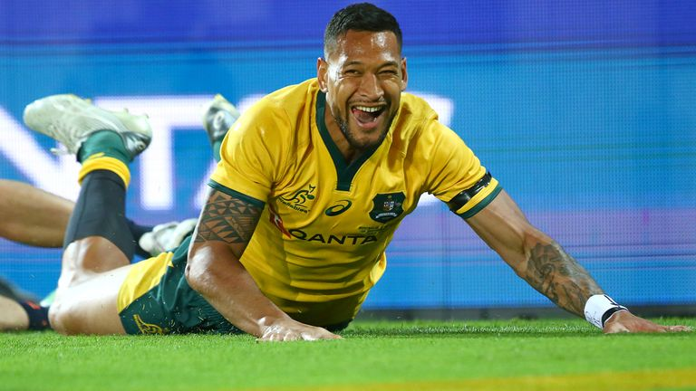 Australia's Israel Folau touches down for a try against Argentina