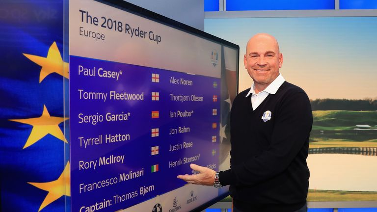 during the Ryder Cup Team Europe Wild Card Selection Announcement on September 5, 2018 in Isleworth, England.