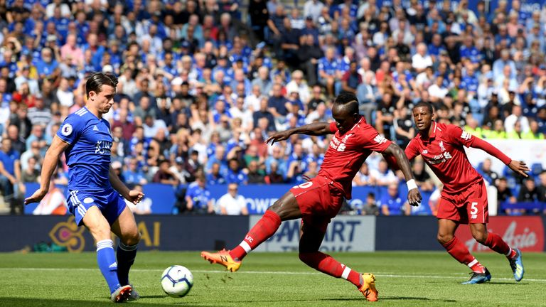 Sadio Mane opens the scoring at the King Power Stadium