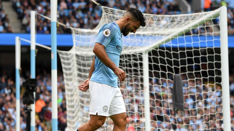 Sergio Aguero of Manchester City reacts during the Premier League match between Manchester City and Fulham FC at Etihad Stadium on September 15, 2018 in Manchester, United Kingdom.