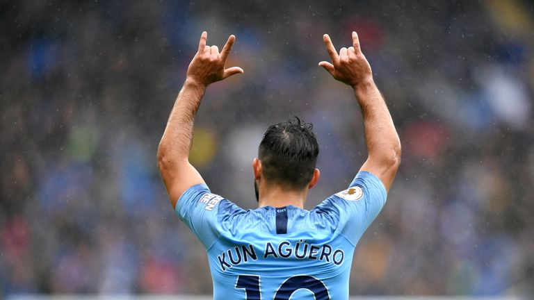 Sergio Aguero marked his 300th Manchester City appearance in style