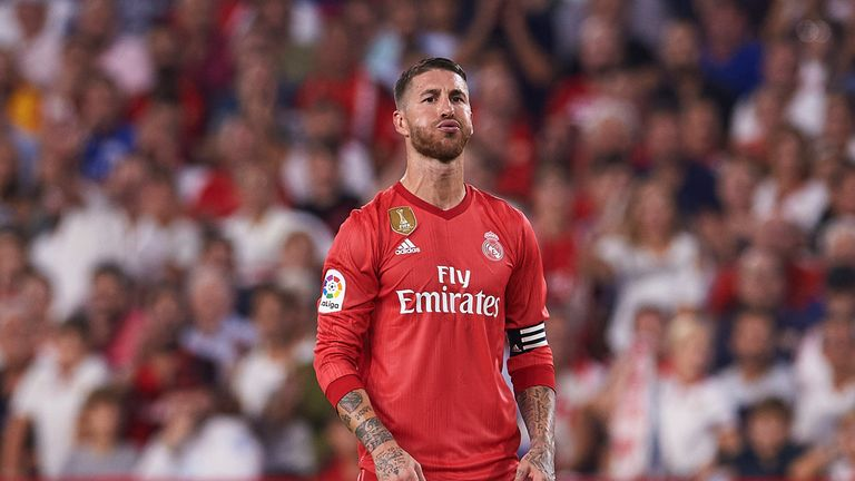 Sergio Ramos reacts during Real Madrid's 3-0 defeat by Sevilla