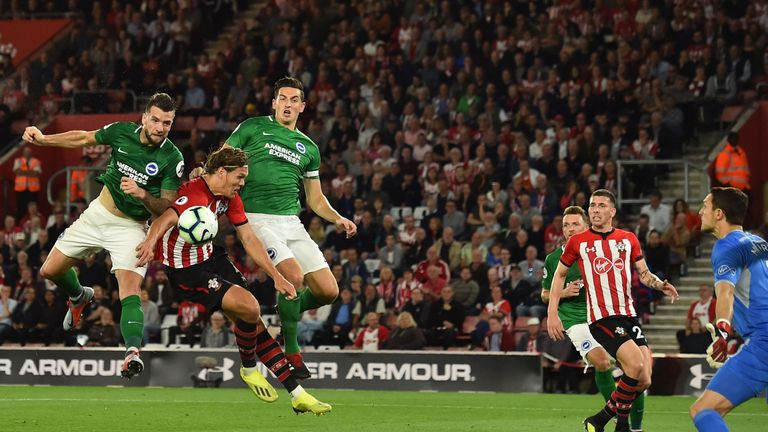 Shane Duffy nodded home for Brighton against Southampton