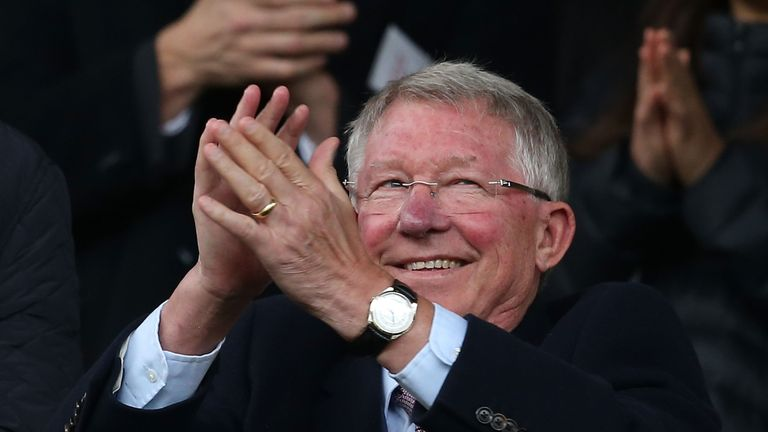 Sir Alex Ferguson in the stands at Old Trafford