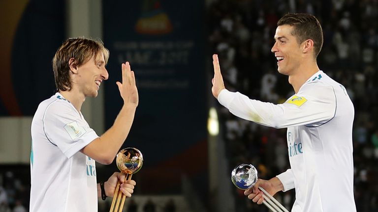 Luka Modric and Cristiano Ronaldo both played at Real Madrid together from 2009-18