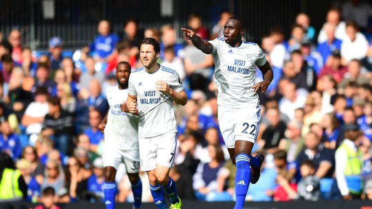 Cardiff City's Sol Bamba celebrates after scoring against Chelsea