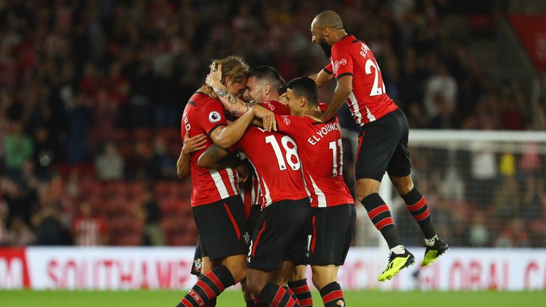 Southampton celebrate after Pierre-Emile Hojbjerg's opening goal