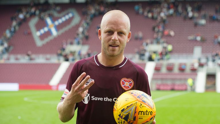 Hearts' Steven Naismith with the match-ball after his hat-trick against St Mirren