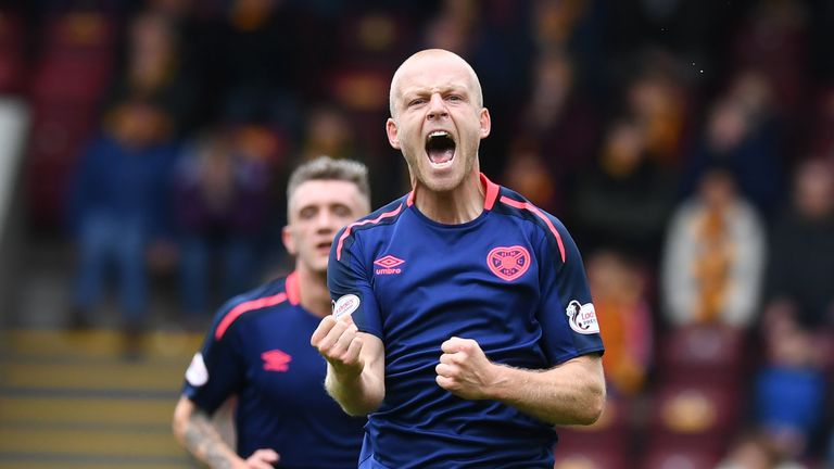 Steven Naismith celebrates scoring for Hearts