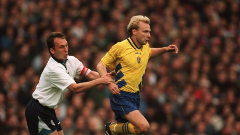 David Platt tries to get a grip on Sweden's Hakan Mild, who scored twice in the 1995 Umbro Cup 3-3 draw at Elland Road