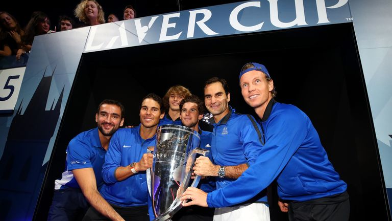 Marin Cilic, Rafael Nadal, Alexander Zverev, Dominic Thiem, Roger Federer and Tomas Berdych of Team Europe lift the Laver Cup trophy on the final day of the Laver cup on September 24, 2017 in Prague, Czech Republic.