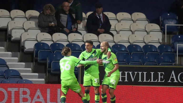 Norwich City's Teemu Pukki far right celebrates his goal with team-mates