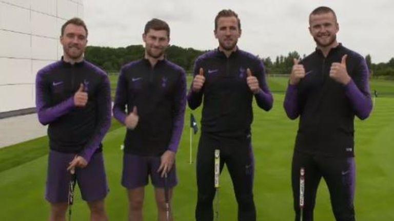 Tottenham's Harry Kane, Eric Dier, Christian Eriksen and Ben Davies take on a Ryder Cup putting challenge.
