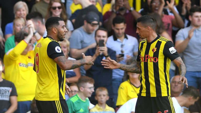 Deeney celebrates scoring for Watford against Spurs