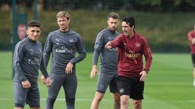 ST ALBANS, ENGLAND - SEPTEMBER 14: of Arsenal during a training session at London Colney on September 14, 2018 in St Albans, England. (Photo by Stuart MacFarlane/Arsenal FC via Getty Images)