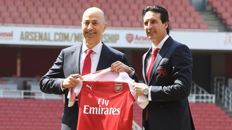 New Arsenal Head Coach Unai Emery with CEO Ivan Gazidis  who left the club to join AC MIlan
