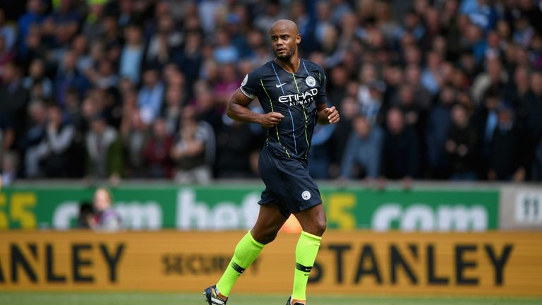 Vincent Kompany during the Premier League match between Wolverhampton Wanderers and Manchester City at Molineux on August 25, 2018 in Wolverhampton, United Kingdom.