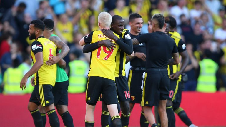 Watford players celebrate their victory over Tottenham