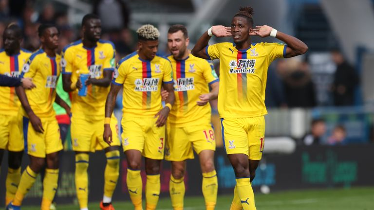 Wilfried Zaha has scored in all three of Crystal Palace's away league games