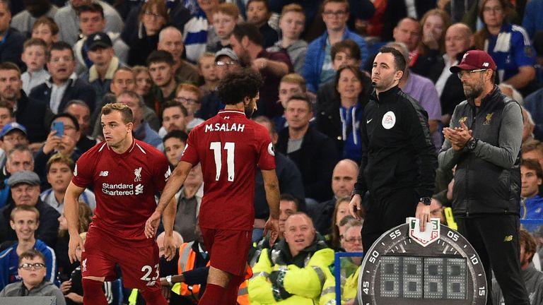 Xherdan Shaqiri came on as a substitute for Salah at Stamford Bridge