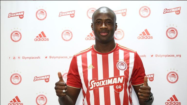 Yaya Toure has joined Olympiacos on a free transfer (Image: Twitter @olympiacos_org)