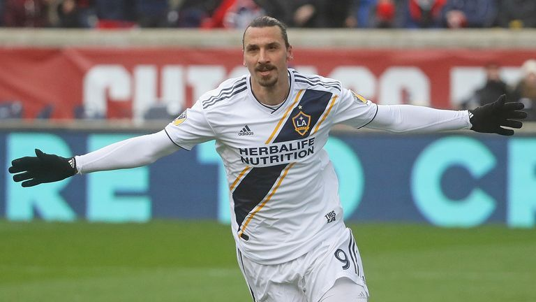 Zlatan Ibrahimovic #9 of the Los Angeles Galaxy celebrates his first half goal against the Chicago Fire at Toyota Park on April 14, 2018 in Bridgeview, Illinois. The Galaxy defeated the Fire 1-0.