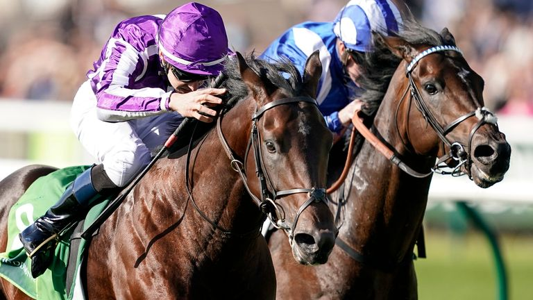 Donnacha OBrien riding Ten Sovereigns (L) win the Juddmonte Middle Park Stakes from Jash