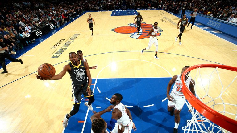 Kevin Durant goes strong to the hoop against the New York Knicks