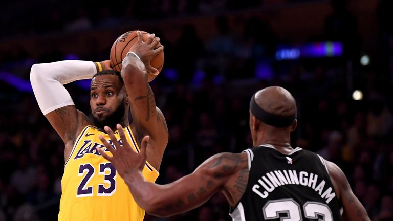 LeBron James in action against the San Antonio Spurs