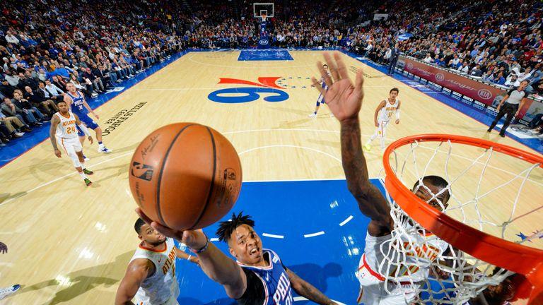 Markelle Fultz attacks the basket in Philadelphia's win over Atlanta