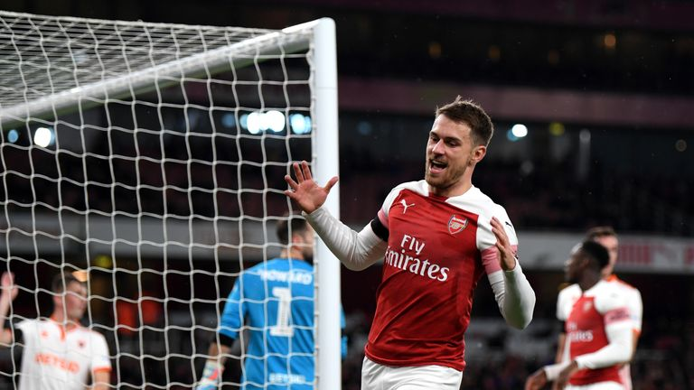 during the Carabao Cup Fourth Round match between Arsenal and Blackpool at Emirates Stadium on October 31, 2018 in London, England.