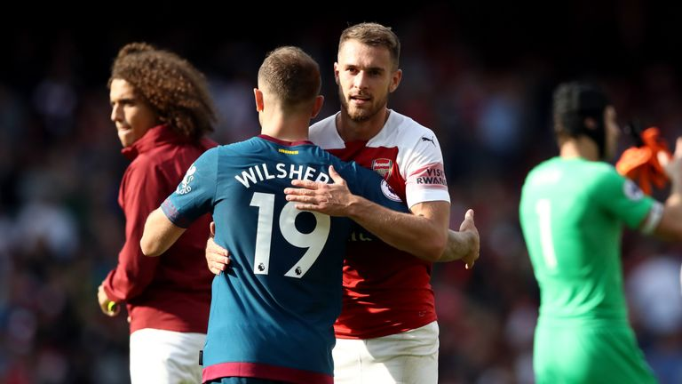 West Ham United's Jack Wilshere and Arsenal's Aaron Ramsey after the game
