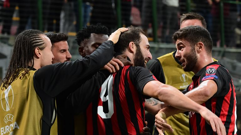 Higuain fired AC Milan to victory over an Olympiakos side featuring Yaya Toure